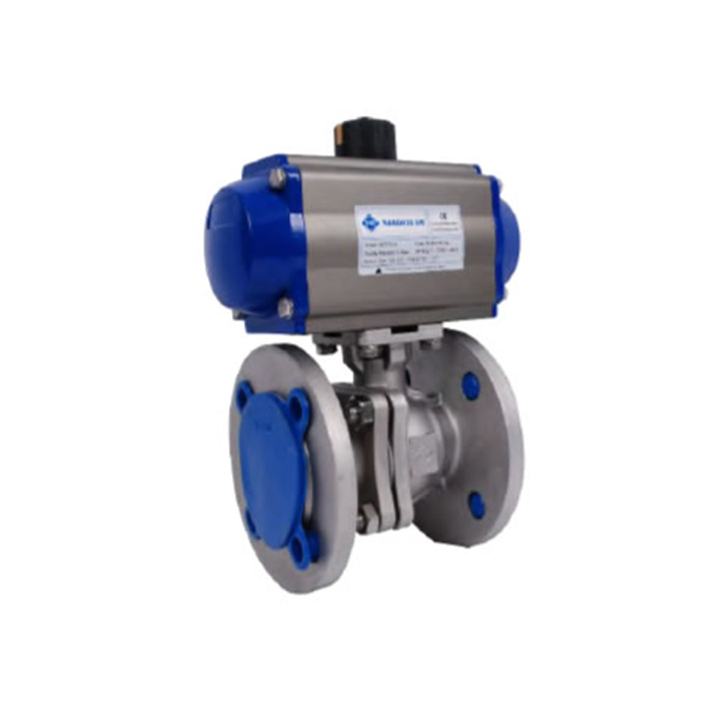 STAINLESS QUALITY FULL PORT PN16 FLANGED 2- PC BALL VALVE WITH PNEUMATIC ACTUATOR (304 / 316)