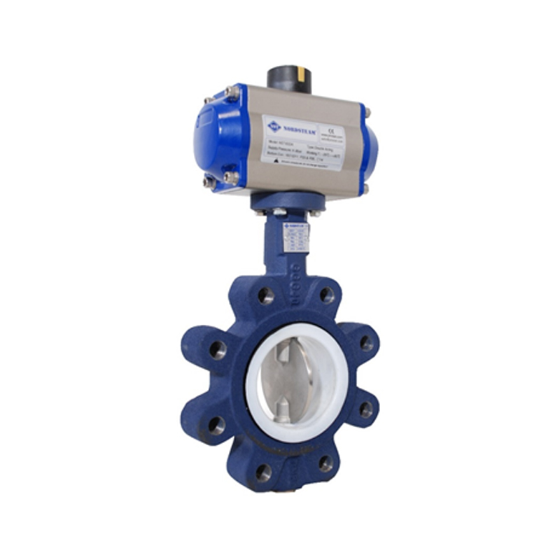 LUG TYPE PTFE GASKET BUTTERFLY VALVES WITH  PNEUMATIC ACTUATORS