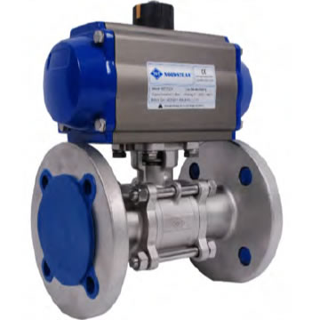 STAINLESS QUALITY FULL PORT PN16 FLANGED 3- PC BALL VALVE WITH PNEUMATIC ACTUATOR (304 / 316)