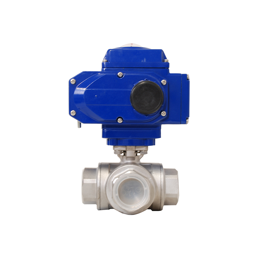 STAINLESS STEEL 3 WAY T TYPE REDUCED PORT BALL VALVE WITH ELECTRIC ACTUATOR