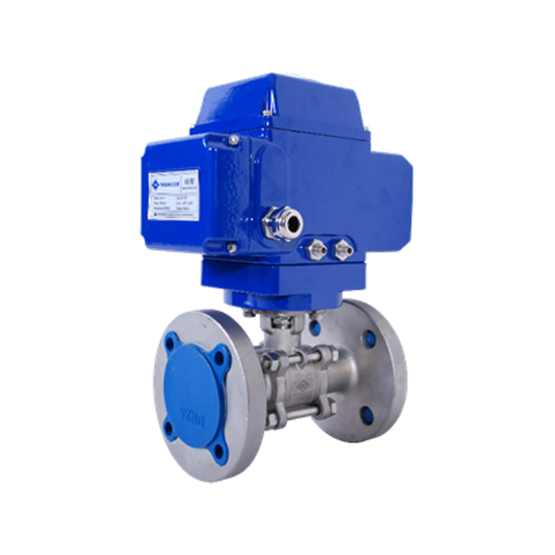 STAINLESS STEEL 304/316 QUALITY FULL PORT PN16 FLANGED 3- PC BALL VALVE WITH ELECTRIC ACTUATOR