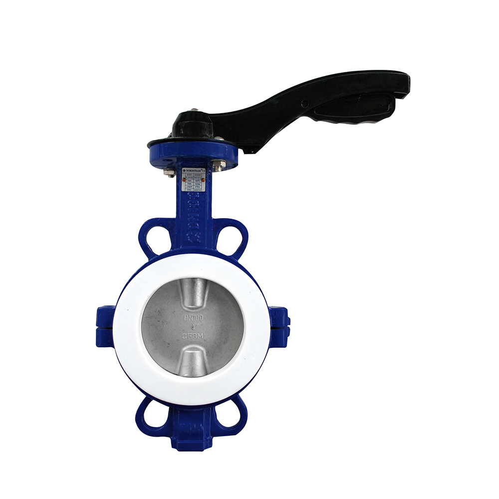 2 PC PTFE LINED WAFER TYPE BUTTERFLY VALVES