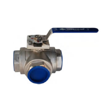 SS 3 WAY T TYPE REDUCED PORT HIGH PAD BALL VALVE