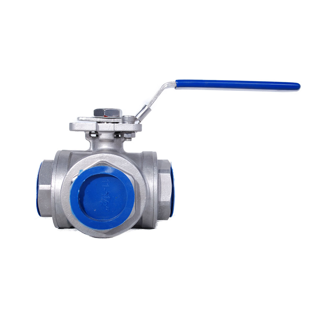 3 WAY L TYPE STAINLESS REDUCED PORT HIGH PAD BALL VALVE