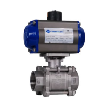 3 PC STAINLESS THREADED BALL VALVES WITH PNEUMATIC ACTUATOR (304 / 316)