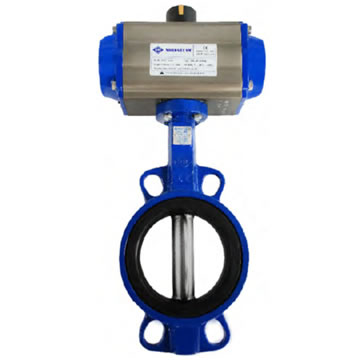 WAFER TYPE BUTTERFLY VALVES WITH PNEUMATIC ACTUATOR