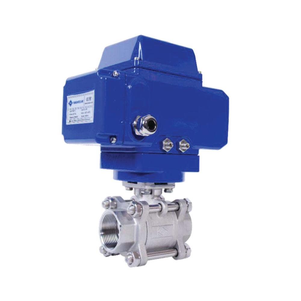 3 PC STAINLESS STEEL THREADED BALL VALVES WITH ELECTRIC ACTUATOR (304 / 316)