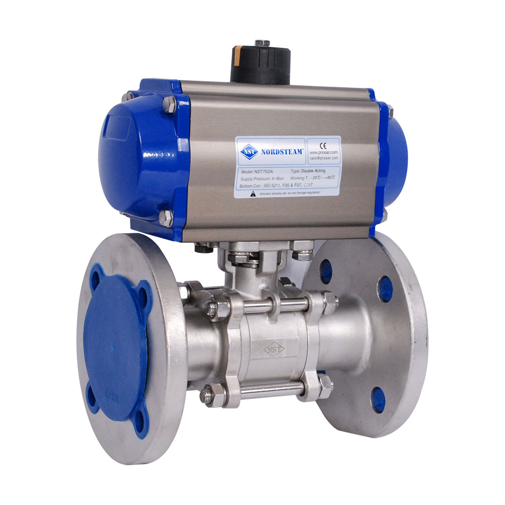 STAINLESS STEEL 304/316 QUALITY FULL PORT PN16 FLANGED 3- PC BALL VALVE WITH PNEUMATIC ACTUATOR