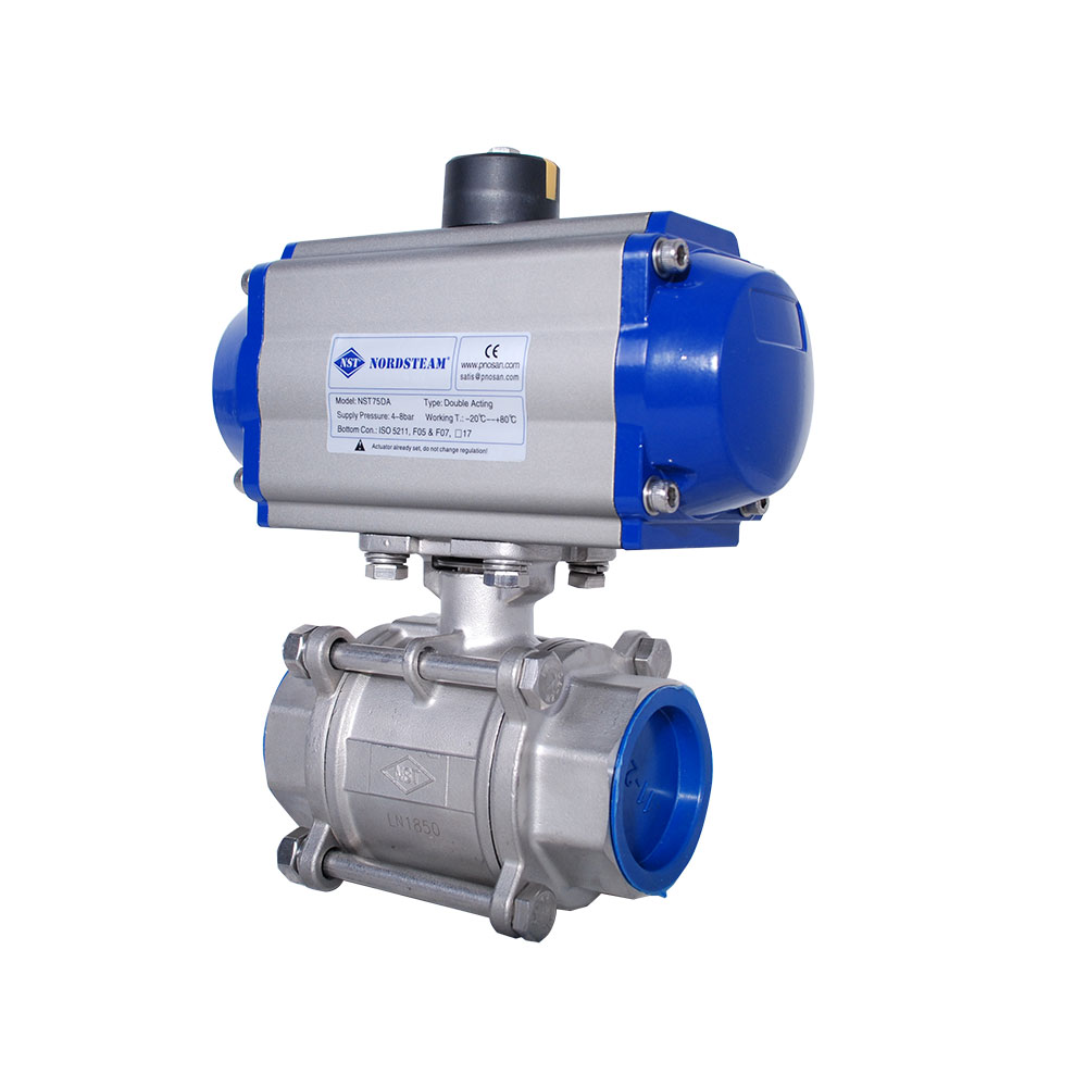 3 PC STAINLESS STEEL THREADED BALL VALVES WITH PNEUMATIC ACTUATOR (304 / 316)