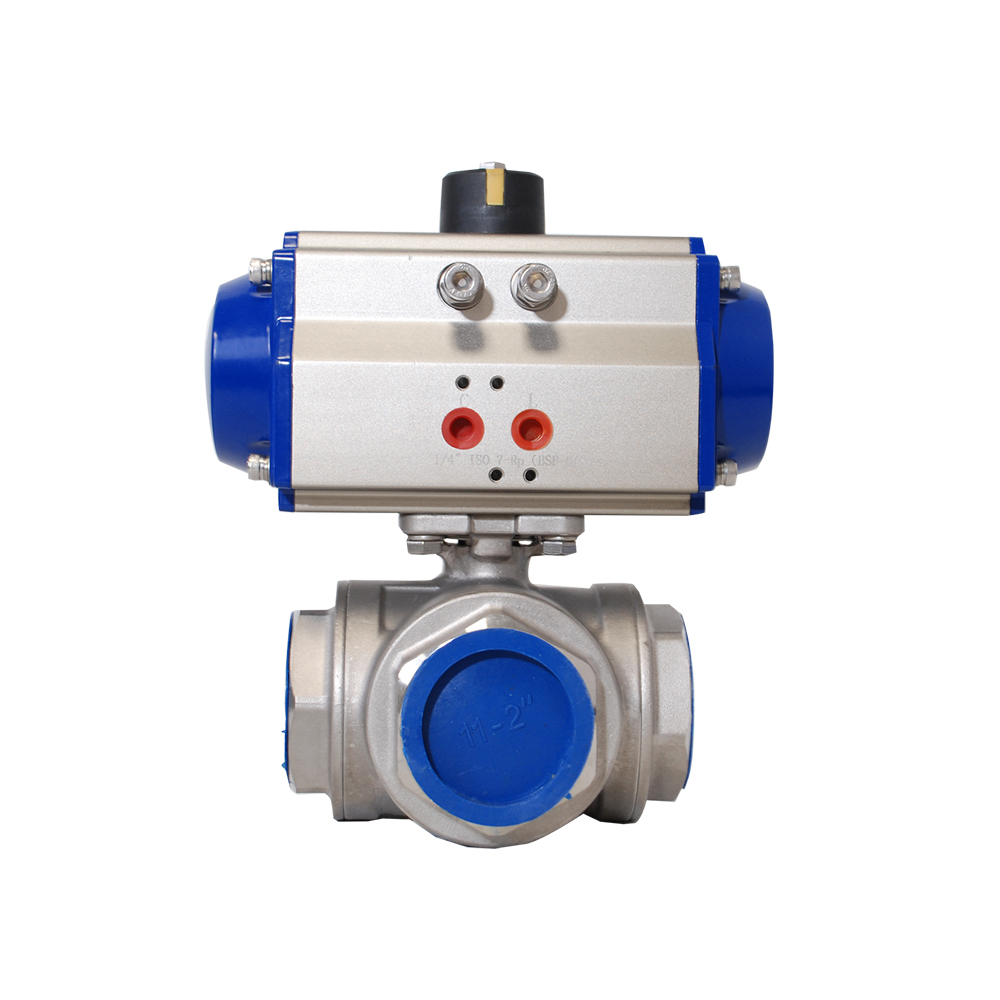 3 WAY L TYPE STAINLESS STEEL BALL VALVE WITH PNEUMATIC ACTUATOR