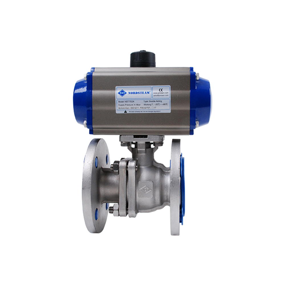 STAINLESS STEEL 304&316 FULL PORT PN16 FLANGED 2- PC BALL VALVE WITH PNEUMATIC ACTUATOR