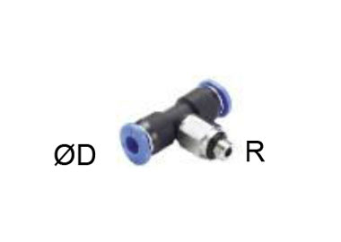 MINIATURE PUSH IN T SHAPE FITTING ROTARY MALE THREAD