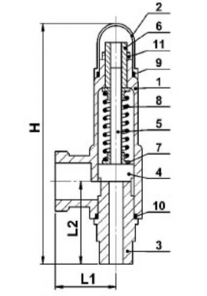 STAINLESS SAFETY VALVE WITH SPRING